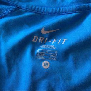 Nike Shirts - NIKE GRAPHIC DRI FIT SHIRT BLUE AND WHITE MEDIUM